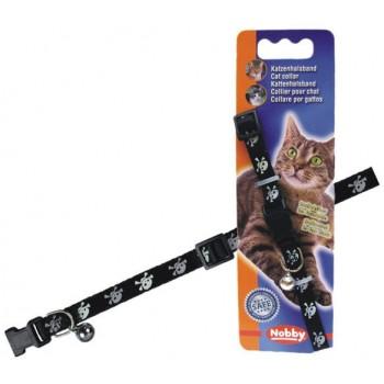 Nobby / Нобби Ошейник д/кошек Пират черный (светоотраж., бубенчик, безопасн.замок) (1х6) 78075