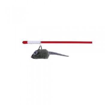 Trixie / Трикси 4547 Удочка с мышкой с микрочипом на резинке 47см пластик/мех.