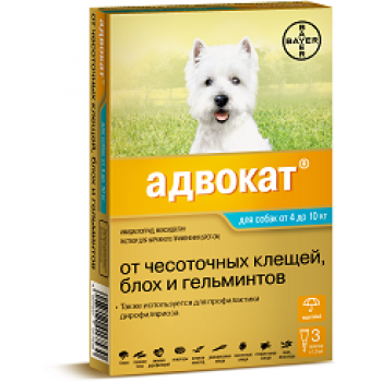 Адвокат 100 (Байер) для собак 4-10 кг (3 пипетки х 1 мл)