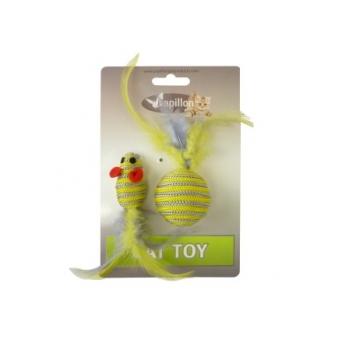 """Papillon / Папиллон """"Мышка и мячик с перьями"""" 5+4см серо-желтые"""