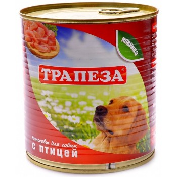 Трапеза консервы д/собак с птицей 750г