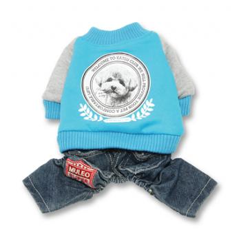 "Katsu / Катсу Комбинезон ""Бест клуб"" (куртка+джинсы) , тепл.трикотаж, разм XS (22х35х20см) синий"