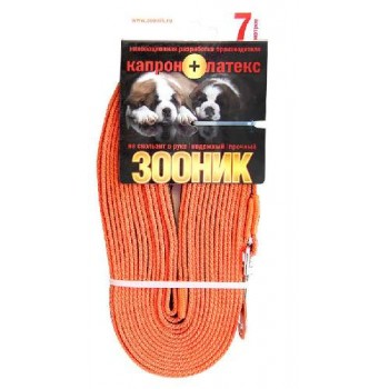 Зооник Поводок капроновый с латексной нитью 7м* 15мм, оранжевый