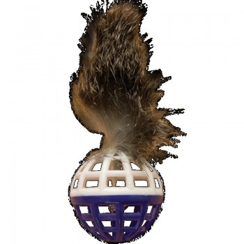 """Зооник 16462 Игрушка """"Погремушка"""" для кошки малая с перьями и мехом, 3,5см (10шт)"""