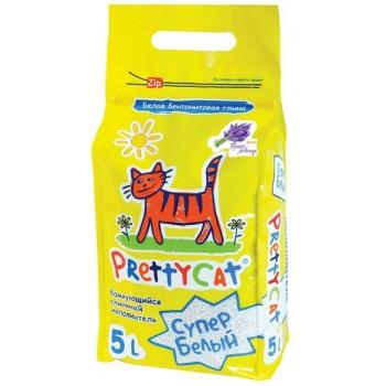 """PrettyCat Наполнитель комкующийся для кошачьих туалетов """"Cупер белый"""" с ароматом лаванды 5 л (4,2 кг)"""
