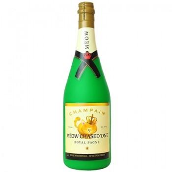 "Silly Squeakers Виниловая игрушка-пищалка для собак Бутылка шампанского ""Мяот и Пушон"", большая (Wine Bottle Meow ChasedLarge) SS-WB-MC-L"