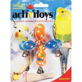 JW Игрушка д/птиц - Мельница с колокольчиками, пластик Activitoy Quad Pod (31087)