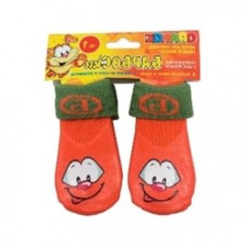 БАРБОСки носки д/собак, высокое латексное покрытие, оранжевые с принтом, размер - 1