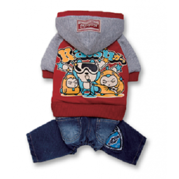 "Katsu / Катсу Комбинезон (куртка+джинсы) ""Джаз"" с капюшоном,тепл.трикотаж,разм ХS (22х35х20см) красный"
