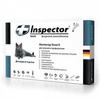 Inspector / Инспектор инсекто-акарицидные капли от всех паразитов для кошек (более 4 кг)