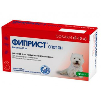 ФИПРИСТ KRKA спот он для собак весом 2-10 кг капли от блох и клещей 67 мг (фипронил)