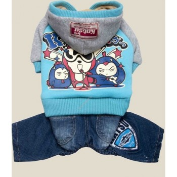 "Katsu / Катсу Комбинезон (куртка+джинсы) ""Джаз"" с капюшоном,тепл.трикотаж,разм M (31х45х26см) голубой"