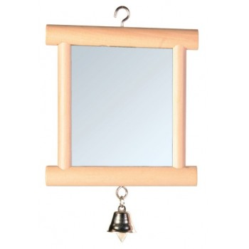 Trixie / Трикси Игрушка д/птиц Зеркало с колокольчиком квадратное, дерево 9*10см 5860