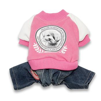 "Katsu / Катсу Комбинезон ""Бест клуб"" (куртка+джинсы) , тепл.трикотаж, разм L(34х50х30см) розовый"