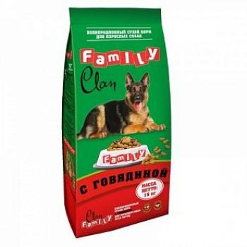 Clan / Клан Family сухой корм для собак всех пород Говядина № 1, 15 кг