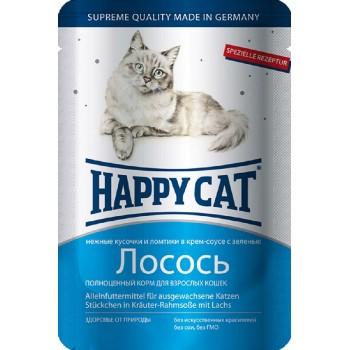 Happy Cat / Хэппи Кэт паучи /лосось ломтики/ в соусе - 0,1 кг