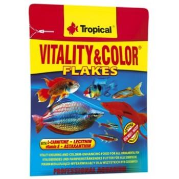 Tropical / Тропикал 704318/85905 корм для аквариумных рыб высокобелковый красящий (хлопья) Vitality&Color 12гр