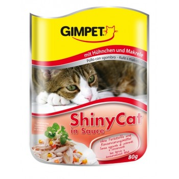 Gimpet / Гимпет паучи Shiny Cat с цыпленком и макрелью в соусе д/кошек 80 г