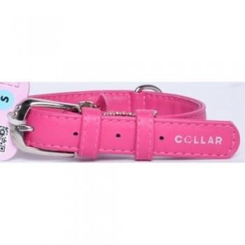 CoLLaR Glamour Ошейник кожаный, двойной прошитый без украшений, 30-39см*20мм, розовый (32937)