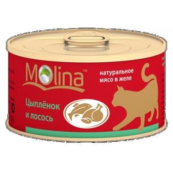 Molina / Молина Консервы д/кошек Цыпленок с лососем, 80г