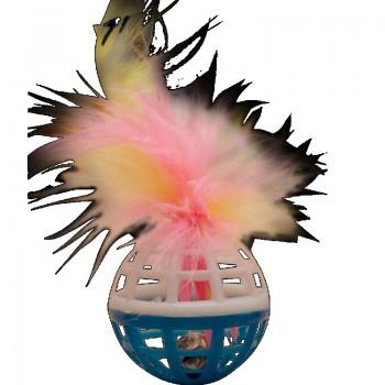 """Зооник 16459 Игрушка """"Погремушка""""для кошки малая с перьями, 3.5см (10шт)"""