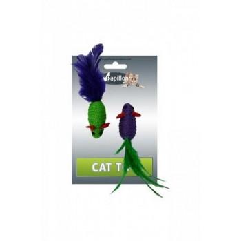 """Papillon / Папиллон Игрушка для кошек """"Две Мышки с перьями"""" 2х5см"""