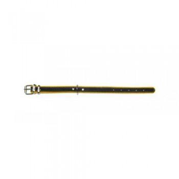 Аркон Ошейник 16 кожа + фетр, размер 22 - 30см х 16мм, черный/желтый (36604)