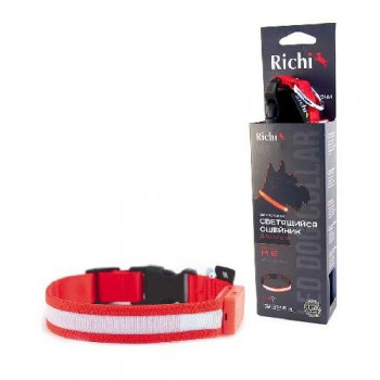 Richi / Ричи 17747/2532 Ошейник USB LED светящийся 45-48см (L) красный, 3 режима, зарядка от USB
