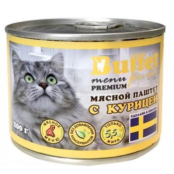 Buffet Мясной паштет для кошек с курицей (ж/б 200г)