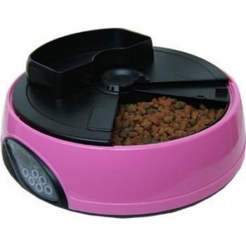 Feedex / Фидекс Автокормушка на 4 кормления для сухого корма и консерв, с емкостью для льда Розовая PF1B