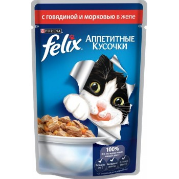 Felix / Феликс для кошек Говядина с морковью аппетитные кусочки в желе 85 гр
