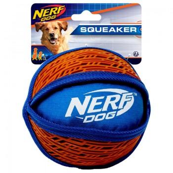 Nerf / Нёрф Мяч нейлоновый пищащий с узором, 15 см, (синий/оранжевый)