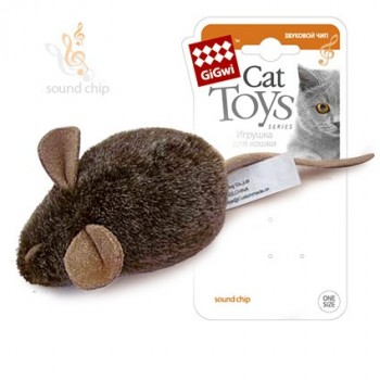 GiGwi / ГиГви Игрушка для кошек Мышка со звуковым чипом 15 см, серия MELODY CHASER