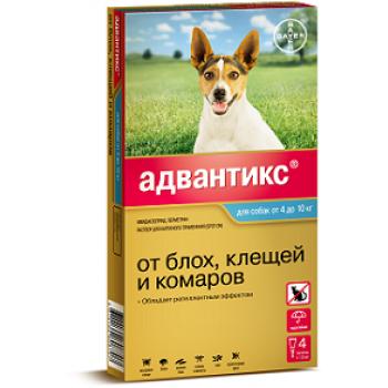 Адвантикс 100 с (Байер) для собак 4-10 кг (4 пипетки х 1 мл)