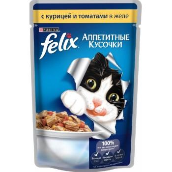 Felix / Феликс для кошек Курица с томатами аппетитные кусочки в желе 85 гр