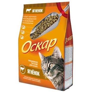 Оскар сухой для кошек с мясом ягненка МКБ 0,4 кг