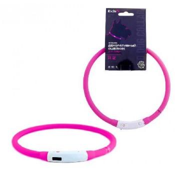 Richi / Ричи 18249/3526 Ошейник Декор. LED 50см (М) розовый силиконовый, 3 режима, встр. аккум., зарядка от USB