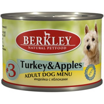 Berkley / Беркли кон. д/собак индейка с яблоками №3 200гр