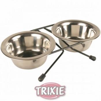 Trixie / Трикси Подставка с мисками, металл 0,2л*2*ф10см (жук) 24830
