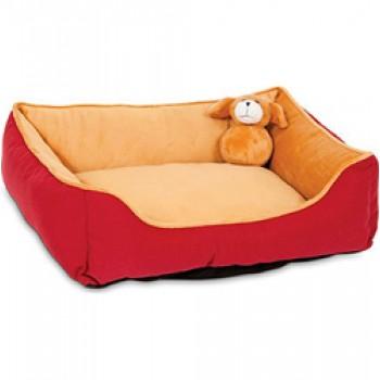 Petmate / Петмейт Лежак для кошек и мелких собак, с мягкими бортиками и игрушкой, прямоугольный, 51х43х15 (см)