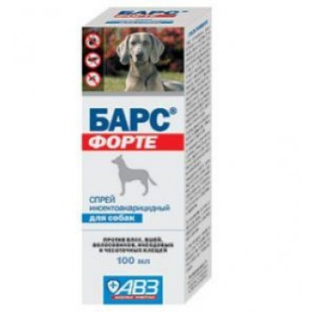 БАРС ФОРТЕ Спрей инсектоакарицидный для собак, 100 мл (на основе фипронила)