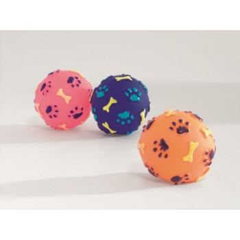 """Beeztees / Бизтис 620144 Игрушка д/собак """"Мячик с отпечатками лап и косточек"""", винил, в ассорт. 8см"""