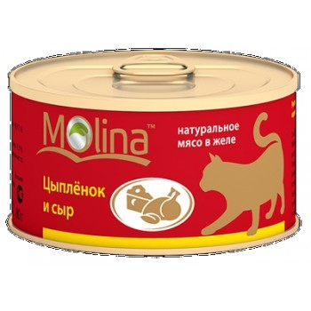 Molina / Молина Консервы д/кошек Цыпленок с сыром, 80г