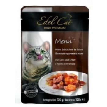 Edel Cat / Эдель Кэт нежные кусочки в желе /гусь печень/ - 100 г