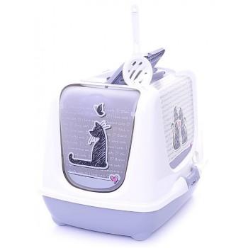Moderna / Модерна Туалет-домик Trendy cat с угольным фильтром и совком, 50х39,5х37,5 см, Влюбленные коты