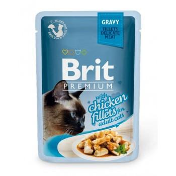 Brit / Брит премиум Пауч д/кошек GRAVY Chiсken fillets Кусочки из куриного филе в соусе 85 г