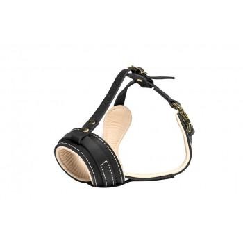 Gripalle / Грипэлле 3810 Намордник кожаный с мягкой бежевой подкладкой для собак, фурнитура из латуни Черный