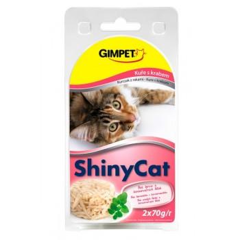 Gimpet / Гимпет Консервы Shiny Cat с цыплёнком и крабом в блистере д/кошек, 2*70г