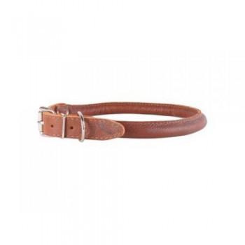 CoLLaR SOFT Ошейник кожаный, двойной прошитый, круглый без украшений для длинношерстных собак, 39-47см*15мм, коричневый (01586)