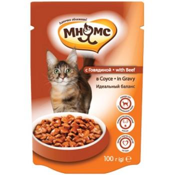 Мнямс паучи для взрослых кошек с говядиной 100 г в соусе, Идеальный баланс